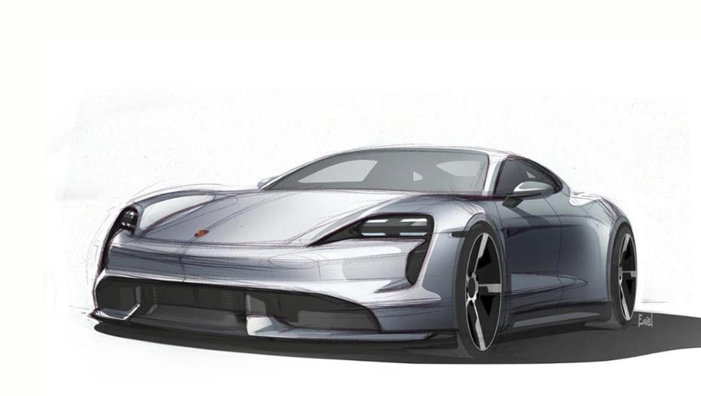 Porsche Taycan disegno tre quarti anteriore