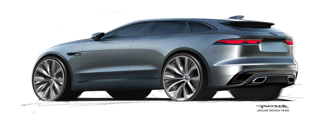 Jaguar design, F-Pace rear sketch
