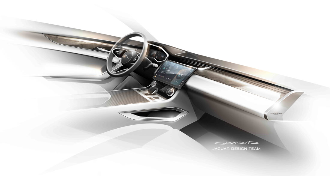 Jaguar Design, F-Pace interior sketch, dashboard