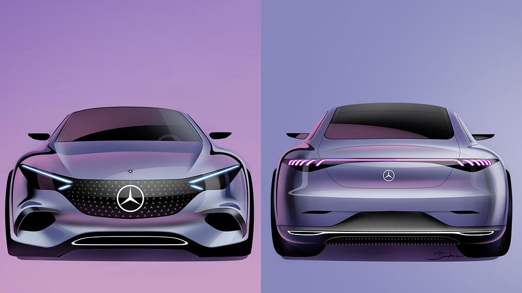 Mercedes-Benz EQE Front&Rear Sketch